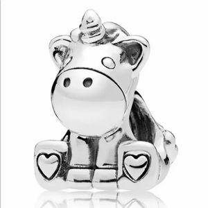 NEW•Silver sitting Unicorn DIY charm/bead